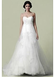 Timeless Tulle & Satin A-line Strapless Sweetheart Empire Waist Wedding Dress With Beaded Lace Appliques #Dressilyme