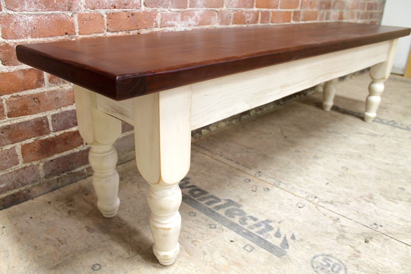 6.5u0027 Pine Dining Bench With White Base