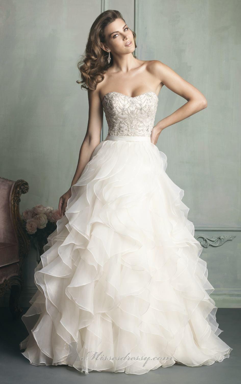 Ruffled Organza Gown by Allure Bridals | Vestido para bodas, Novios ...