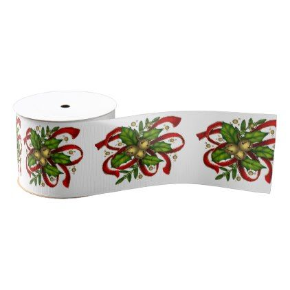 Christmas Holly Golden Bells White Ribbon - christmas craft supplies