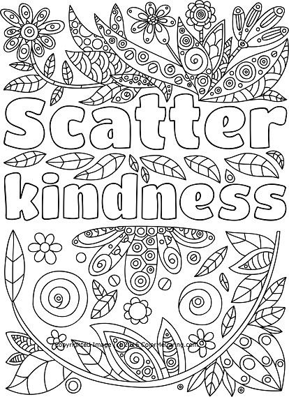 Scatter Kindness Adult Coloring Page Quote Coloring Pages Free