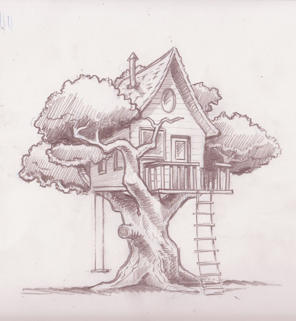 Tree house drawnings yahoo search results art for House sketches from photos