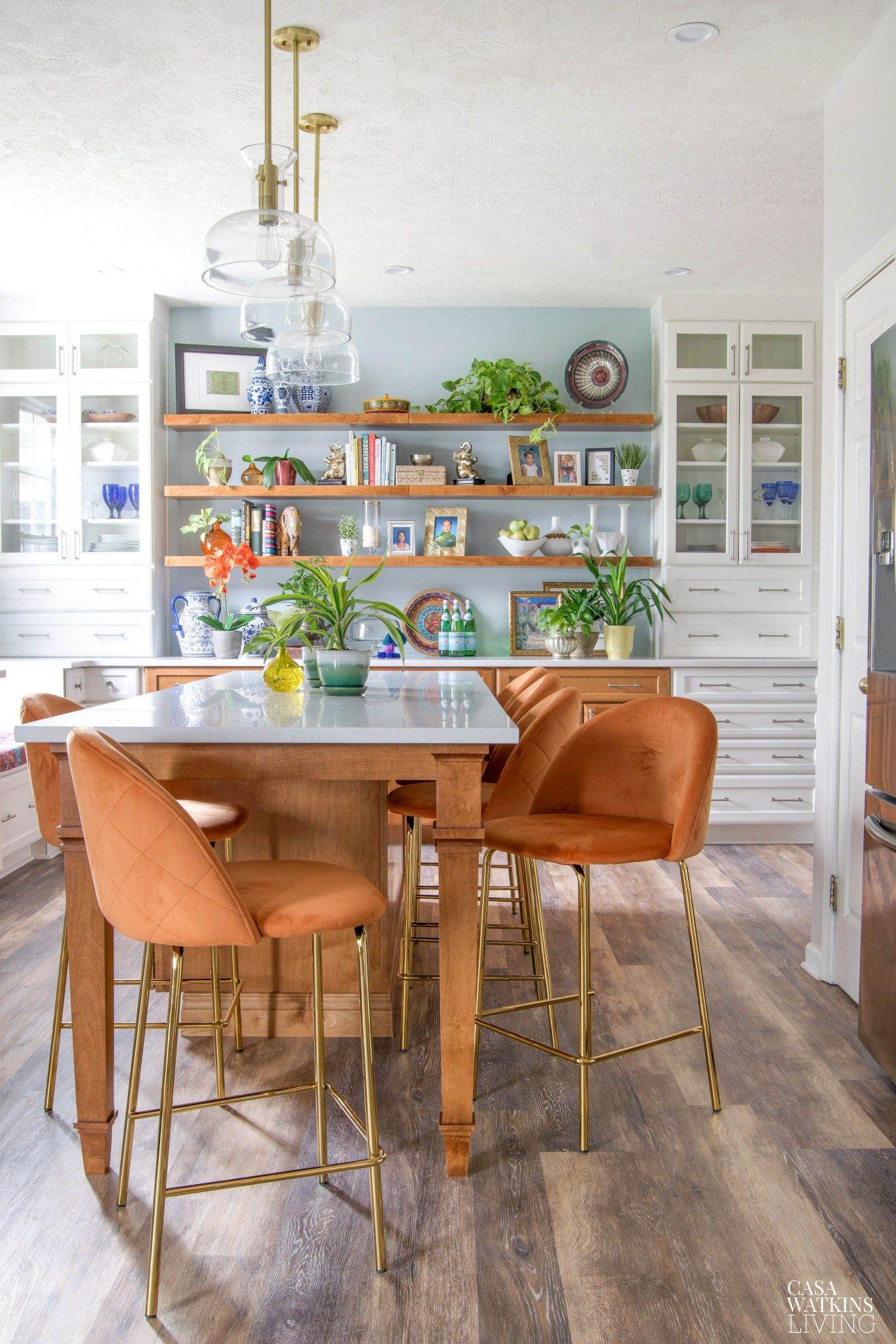 Velvet Kitchen Island Stools For Modern Bohemian Kitchen ...