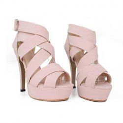 $14.45 Elegant Women's Sandals With Cross-Straps and Buckle Design