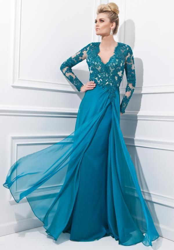 2015 Vintage Chiffon Teal Lace Long Sleeve Muslim Evening Dresses ...