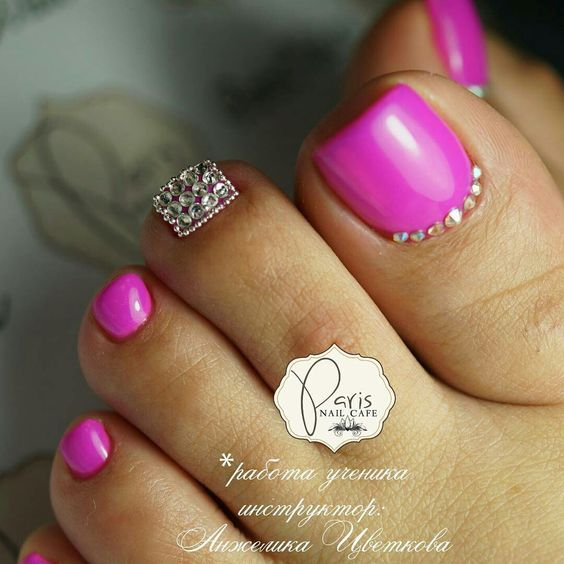 Pink Toe Nails Nail Art Design Idea With Rhinestones