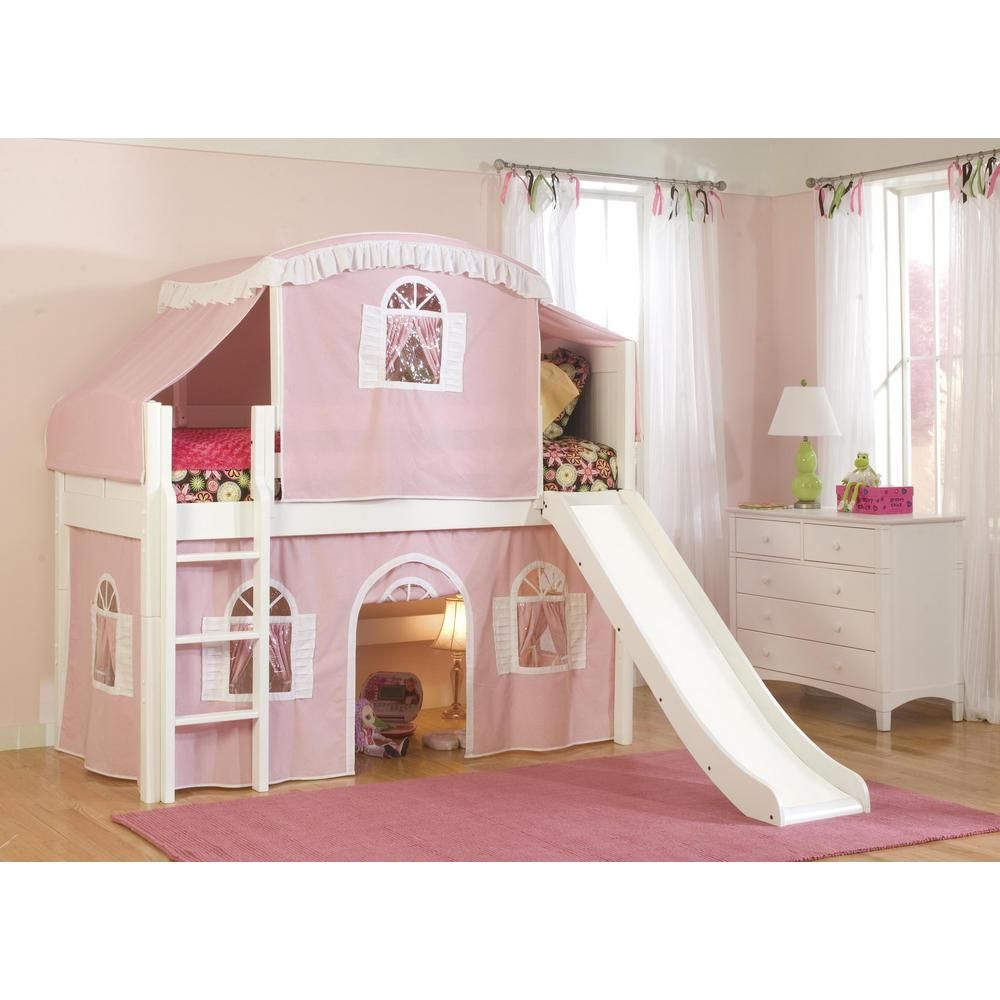 Bolton Furniture Cottage White Twin Low Loft Bed With Pink