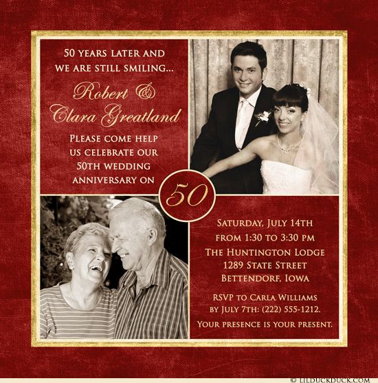 50 Years Anniversary Card In Red Gold