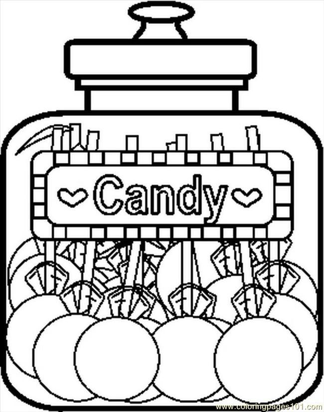 candyjar8bw coloring page free printable coloring pages - Lollipop Coloring Pages Printable