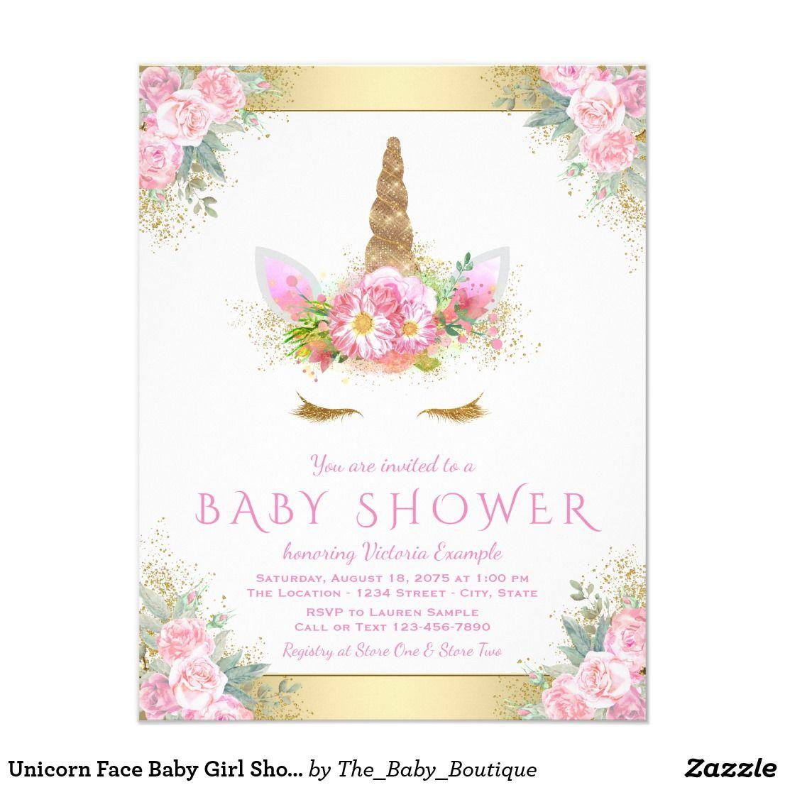 Unicorn Face Baby Shower Invitations Zazzle Com