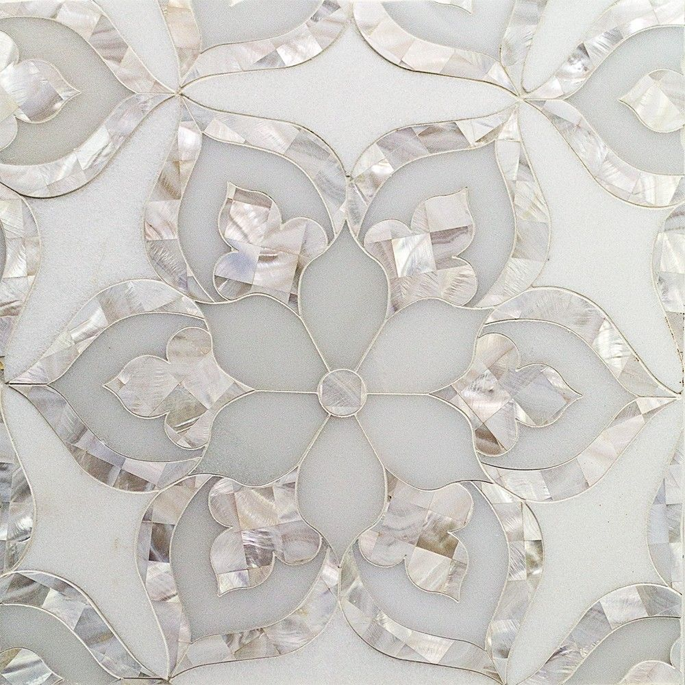 Gorgeous Aurora With White Thassos Royal White And Pearl Glass And Marble Tile At