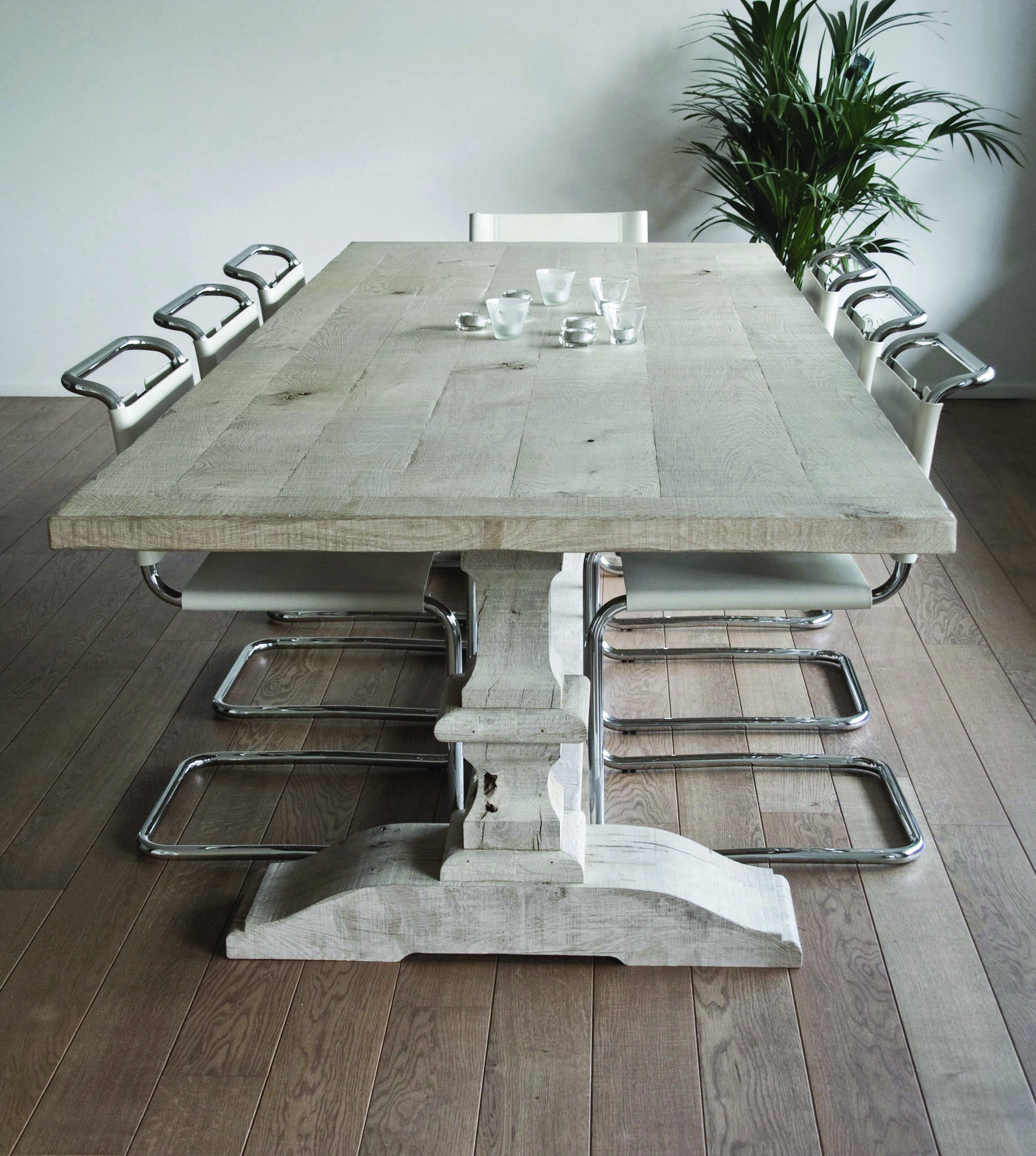 Weathered Grey Oak Dining Table By Malvini Com Coffee Table