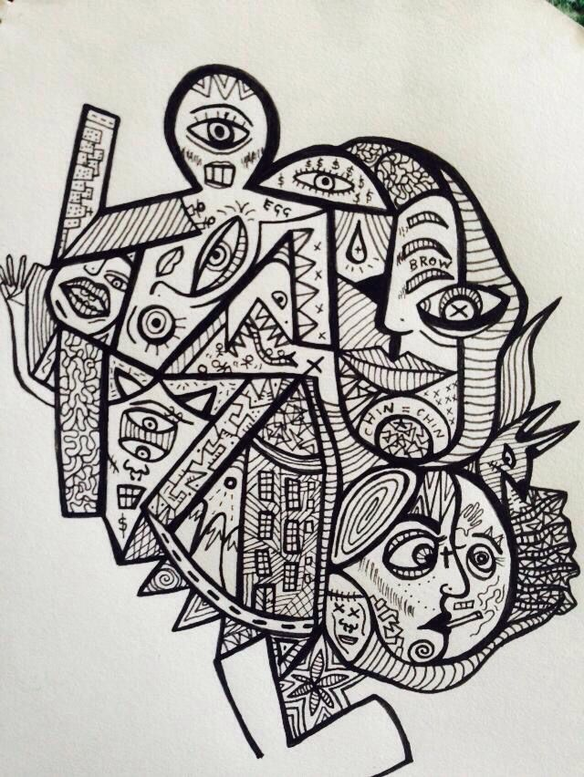 Abstract Drawing Black Pen Unusual Art Black And White