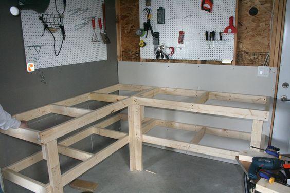 Corner Workbench And Storage For Garage Workbench Designs Diy Workbench Garage Work Bench
