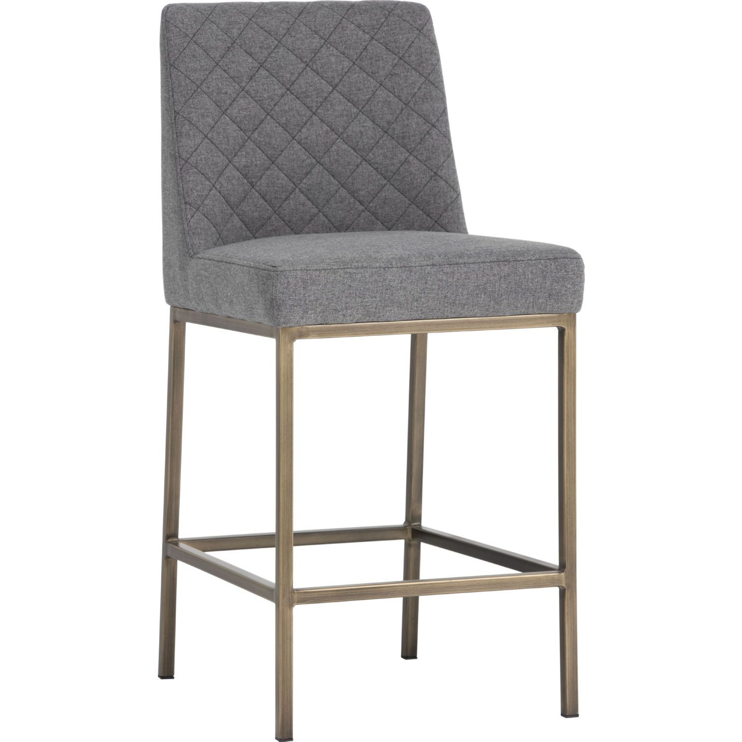 Sunpan 102821 Leighland Counter Stool Quilted Dark Grey Fabric On Antique Brass Kitchen Island Chairs Island Chairs Contemporary Stools