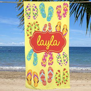 Personalized Flip Flops Beach Towel Personalized Beach Towel