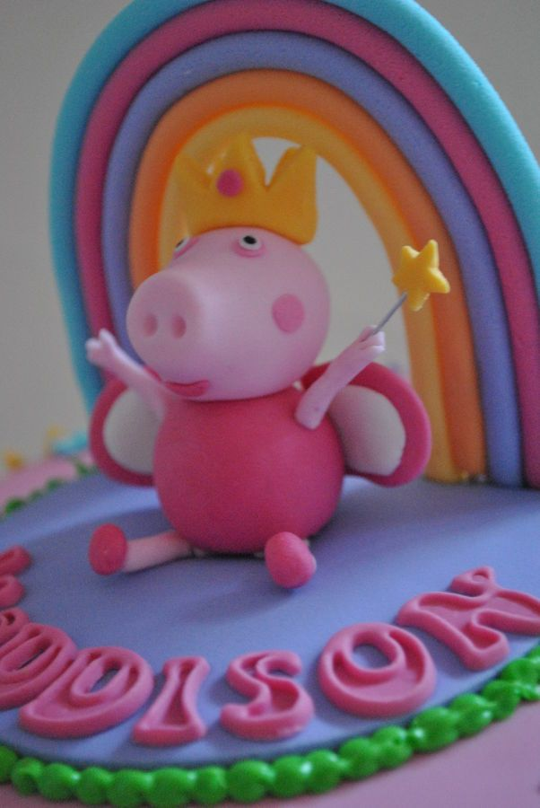 Peppa pig garden rainbow cake with hand made topper — Children's ...