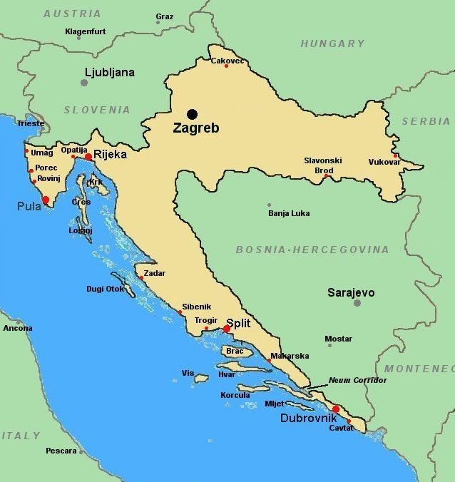 Italy And Croatia Map Map Of Europe Map Of Croatia Croatia Croatia Map Italy Map