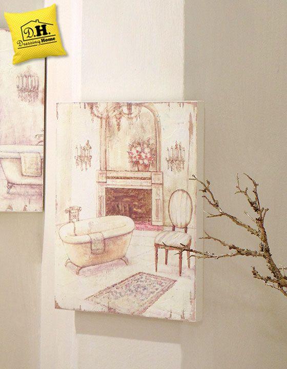 Quadro Canvas Vintage Shabby Chic Sala da Bagno 30x40 Blanc Mariclo ...