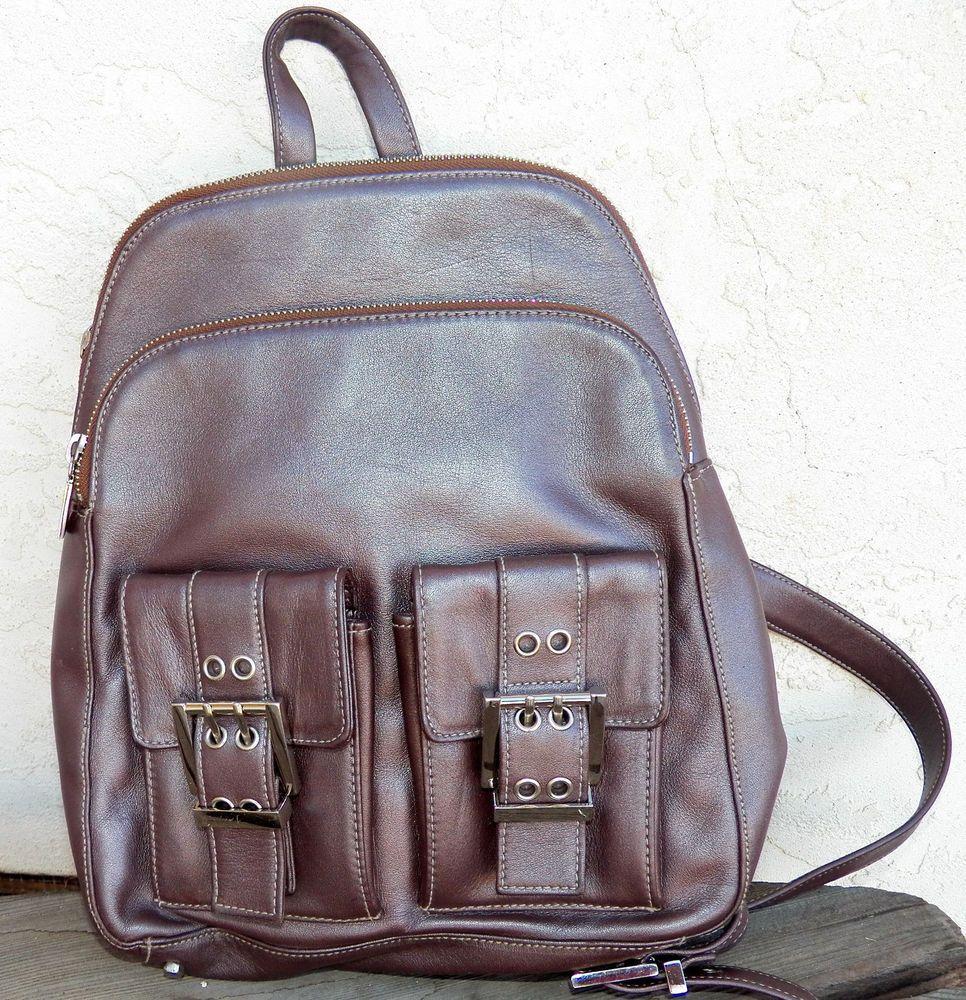 Perlina New York Metallic Mauve Bronze Leather Backpack Handbag Travel  Organizer  Perlina  BackpackStyle ed3536f2ab8ba