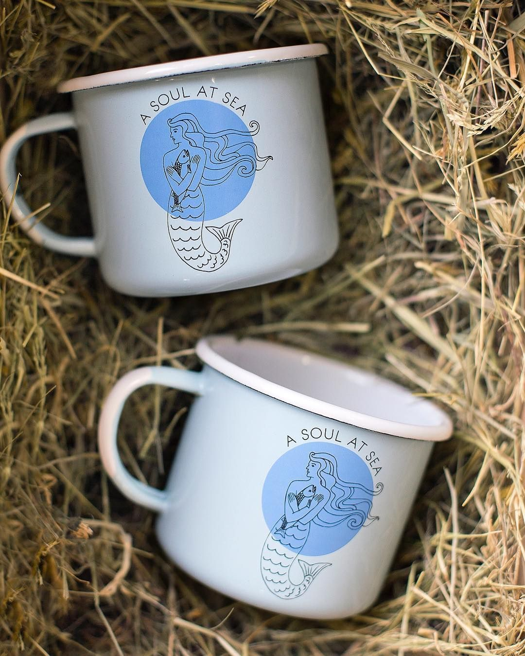 A Soul at Sea. New enamel mugs made for the people whose souls need the sea. Check out what's new on our webshop and sign up for our newsletter to get the first scoop on our Winter Collection () being released at the end of October.  #aksalmonsisters #enamelmug #soulatsea #mermaidlife #turquoise #periwinkle #enamelware #campmug #wintercollection
