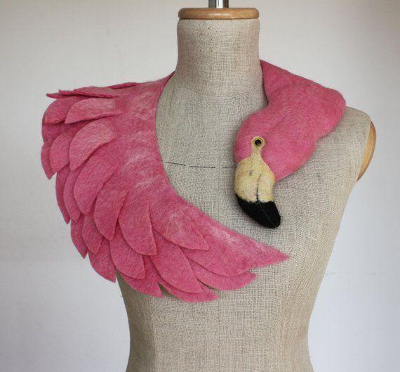 Pink Flamingo pale version felted wool animal scarf #feltedwoolanimals