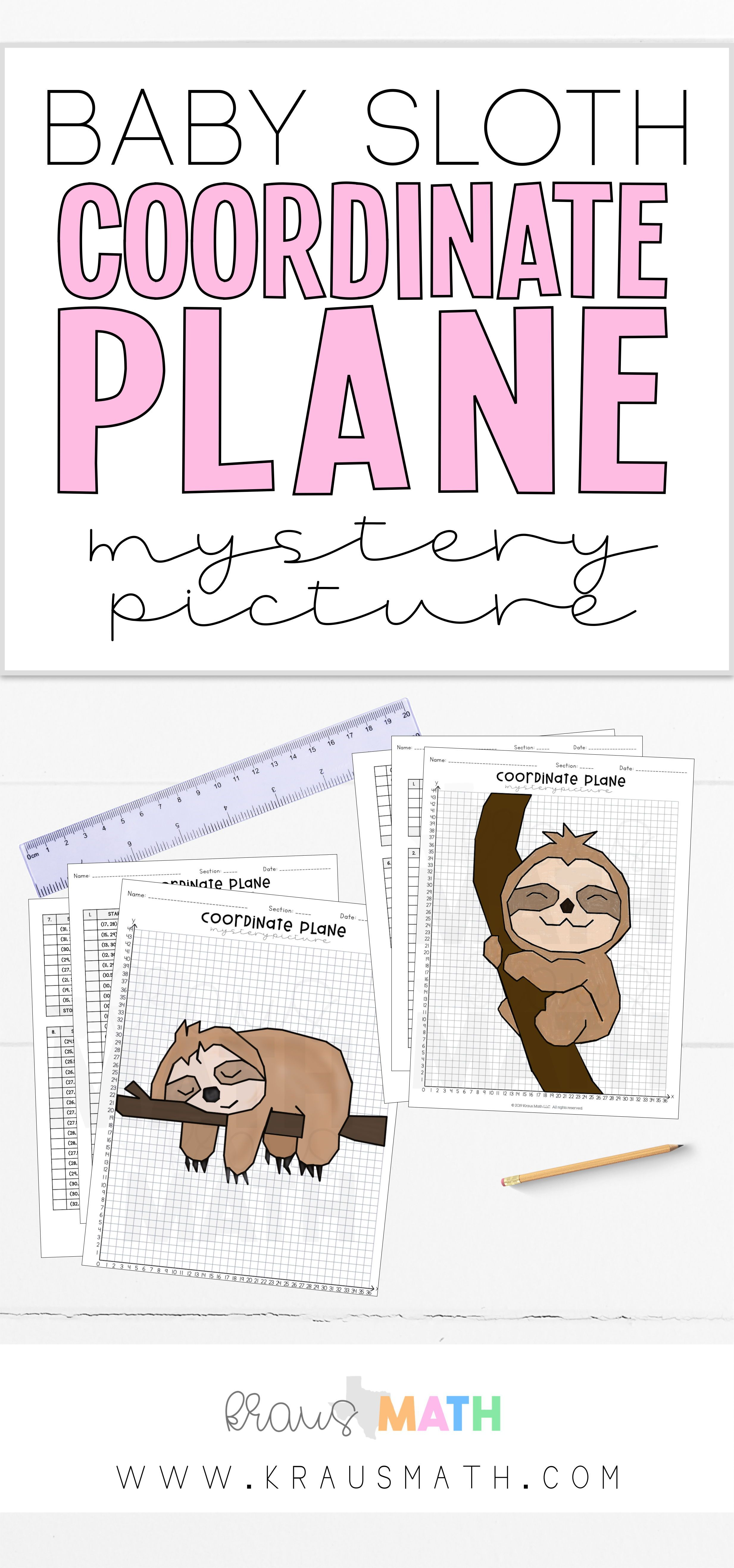 Cute Sloth Coordinate Plane Mystery Picture Bundle 1st