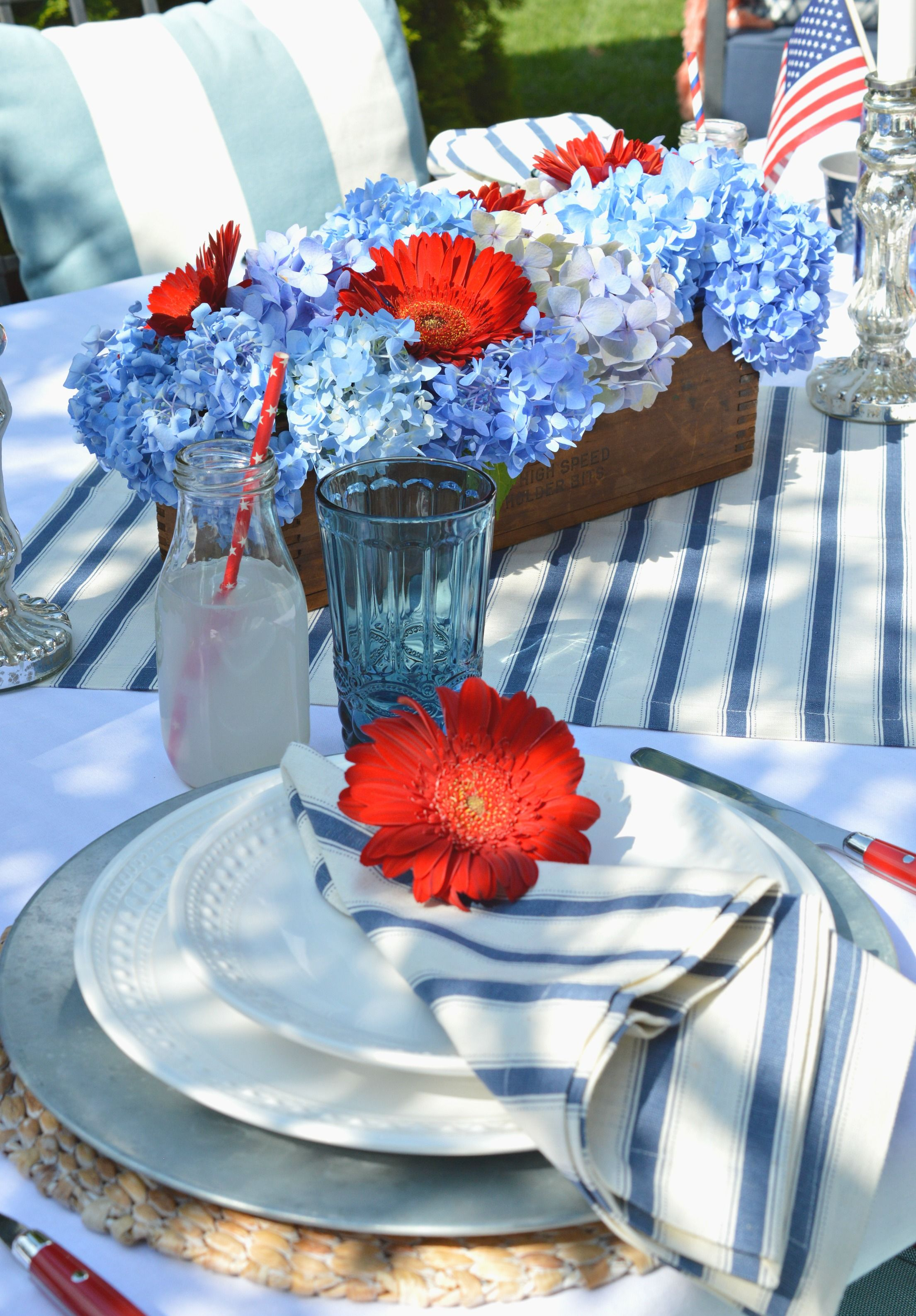 5 Easy Steps For Creating A Festive Patriotic Table Blue Table Settings Blue Table Table