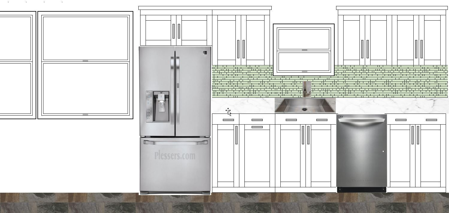This Is My Rendering In Excel Of What The Window Side Wall Of My Kitchen Will Look Like Kitchen Kitchen Cabinets Kitchen Appliances
