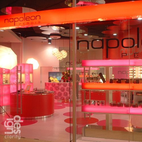 Napoleon Perdis by Design Clarity. Australia, NZ, USA, Saks Fifth Ave NYC, approx 20 to 500sqm    Nu-luxury, sensory, experiential retailing for a cutting-edge independent Australian label & professional make-up artist academy.