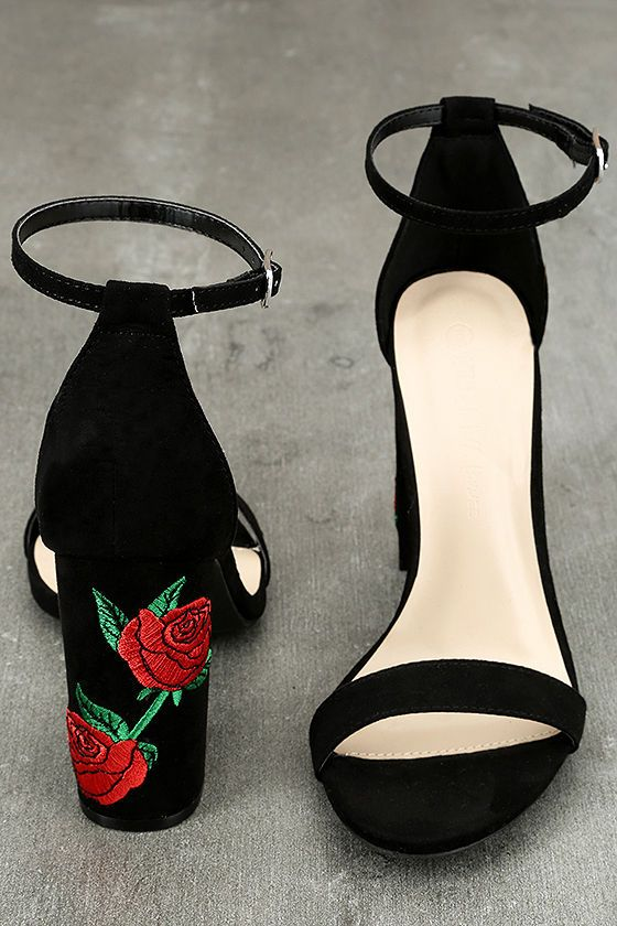 3c3a8cceaa25 ... Shoes   Bags for Women. We re like a hummingbird to a rose when it  comes to the Felora Black Suede Embroidered Ankle Strap Heels! Dress up  with ease in ...