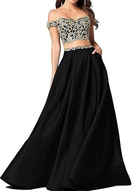 2019 Women s Two Pieces Prom Dresses Long Satin Evening Dresses With  Pockets Off The Shoulder Vestidos ... c1a9bf9b2697