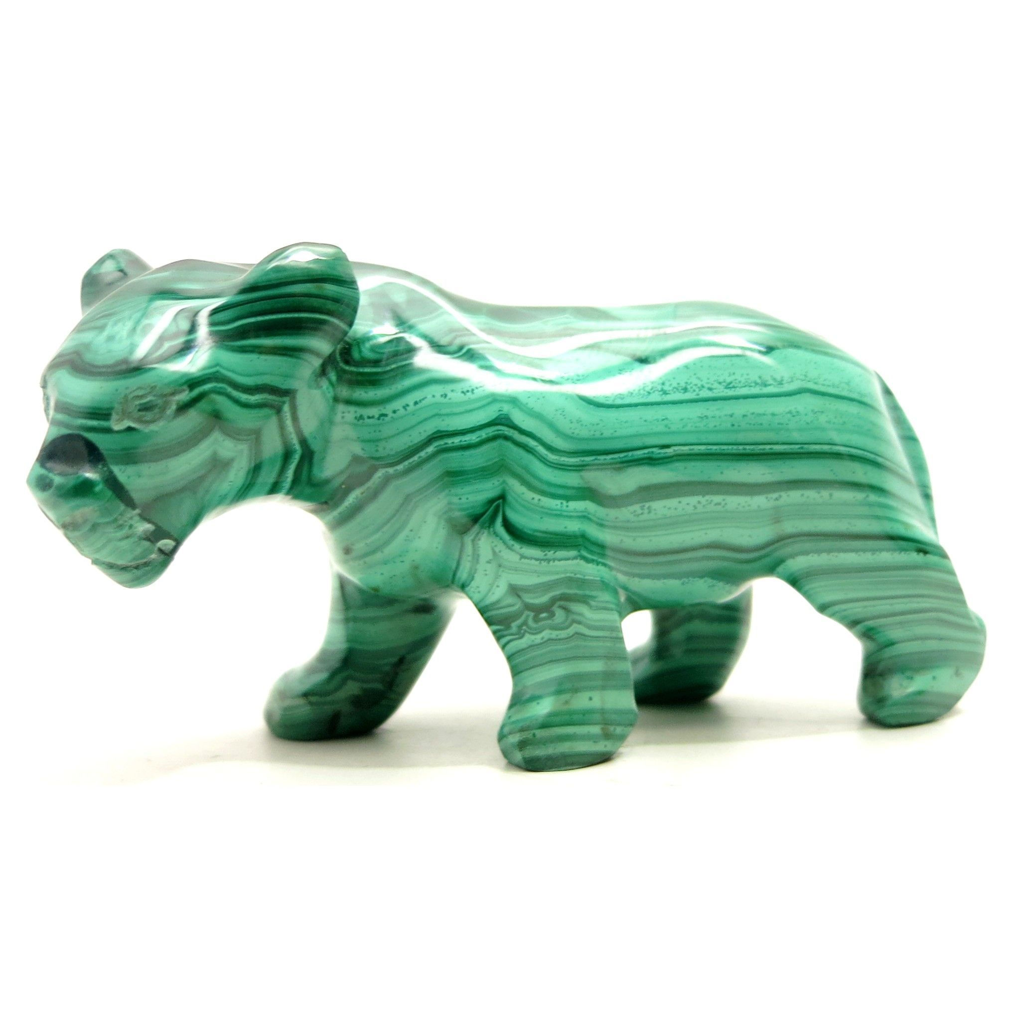 Malachite panther green stone carving wild cat inches