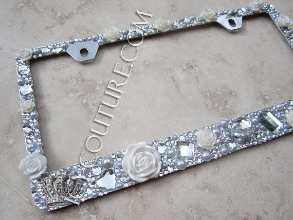 3D White Roses & 2 Crowns Crystal Bling License Plate Frame ...