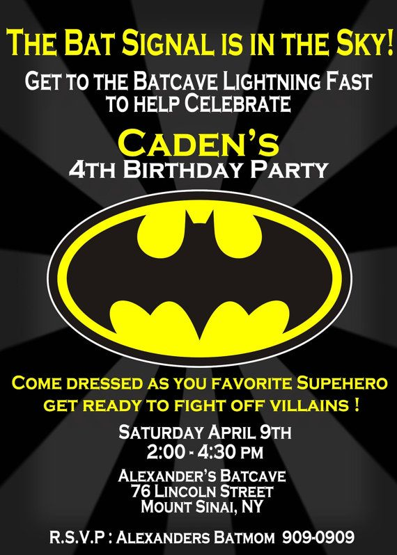 Batman Birthday Invitation Love The Idea Of Guests Dressing As