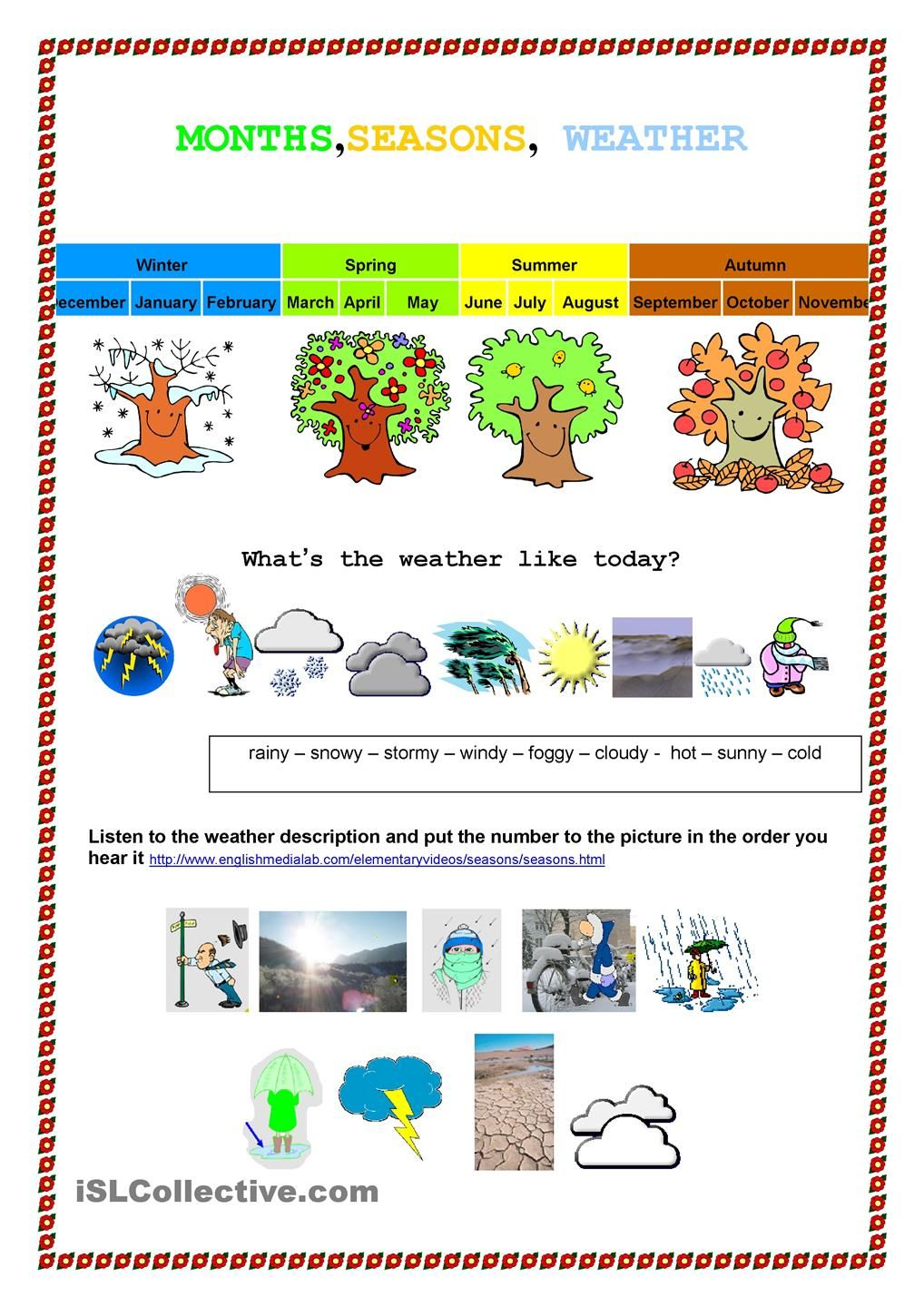 Month, seasons weather | English | Pinterest