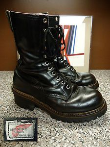Vtg Red Wing Work Hunting Lineman Boots Black Leather Mens sz 6.5 Womens 8