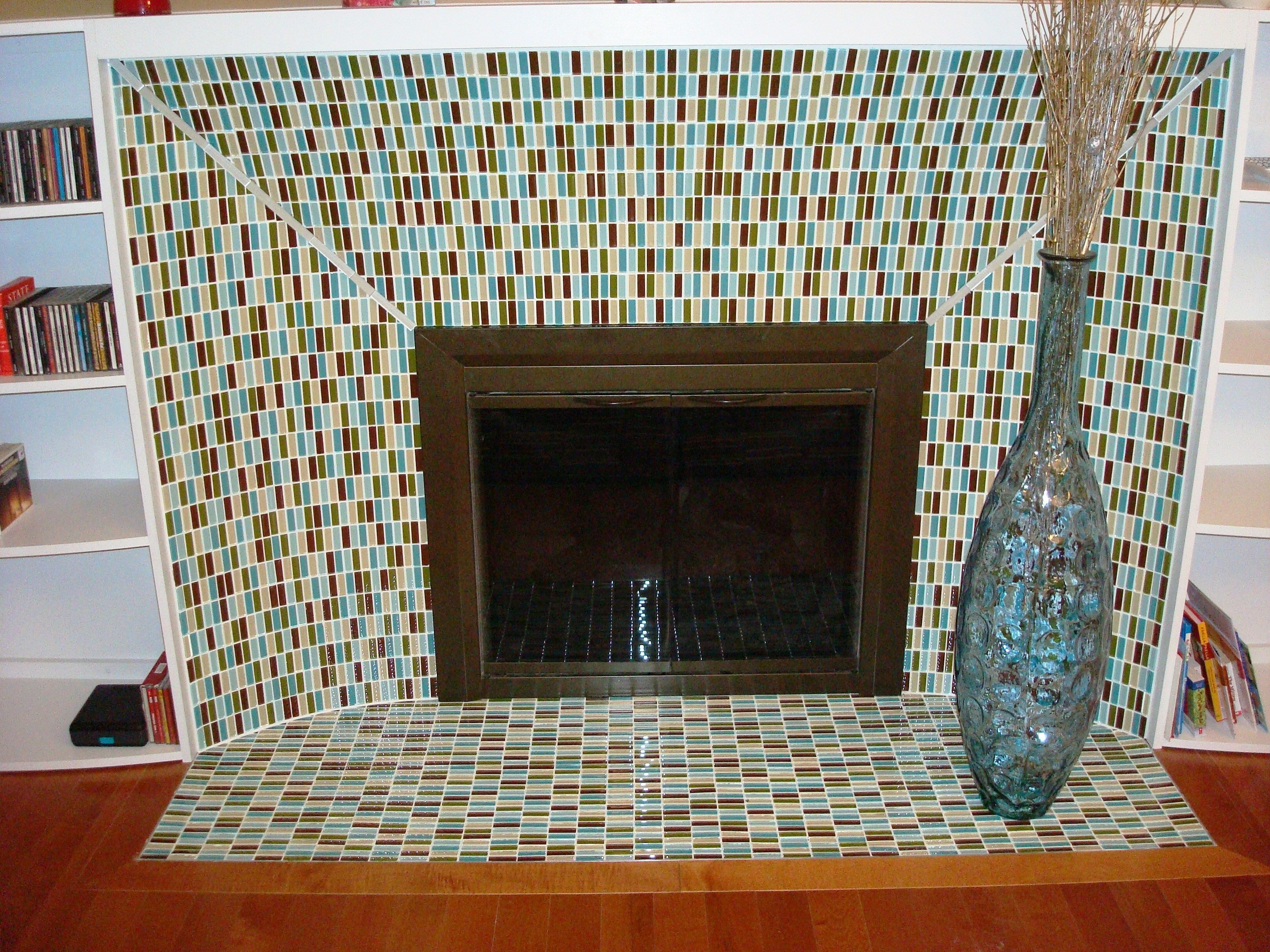 Mosaic Tile Fireplace I Can Do This Myself For The Home Pinterest Tiled Fireplace
