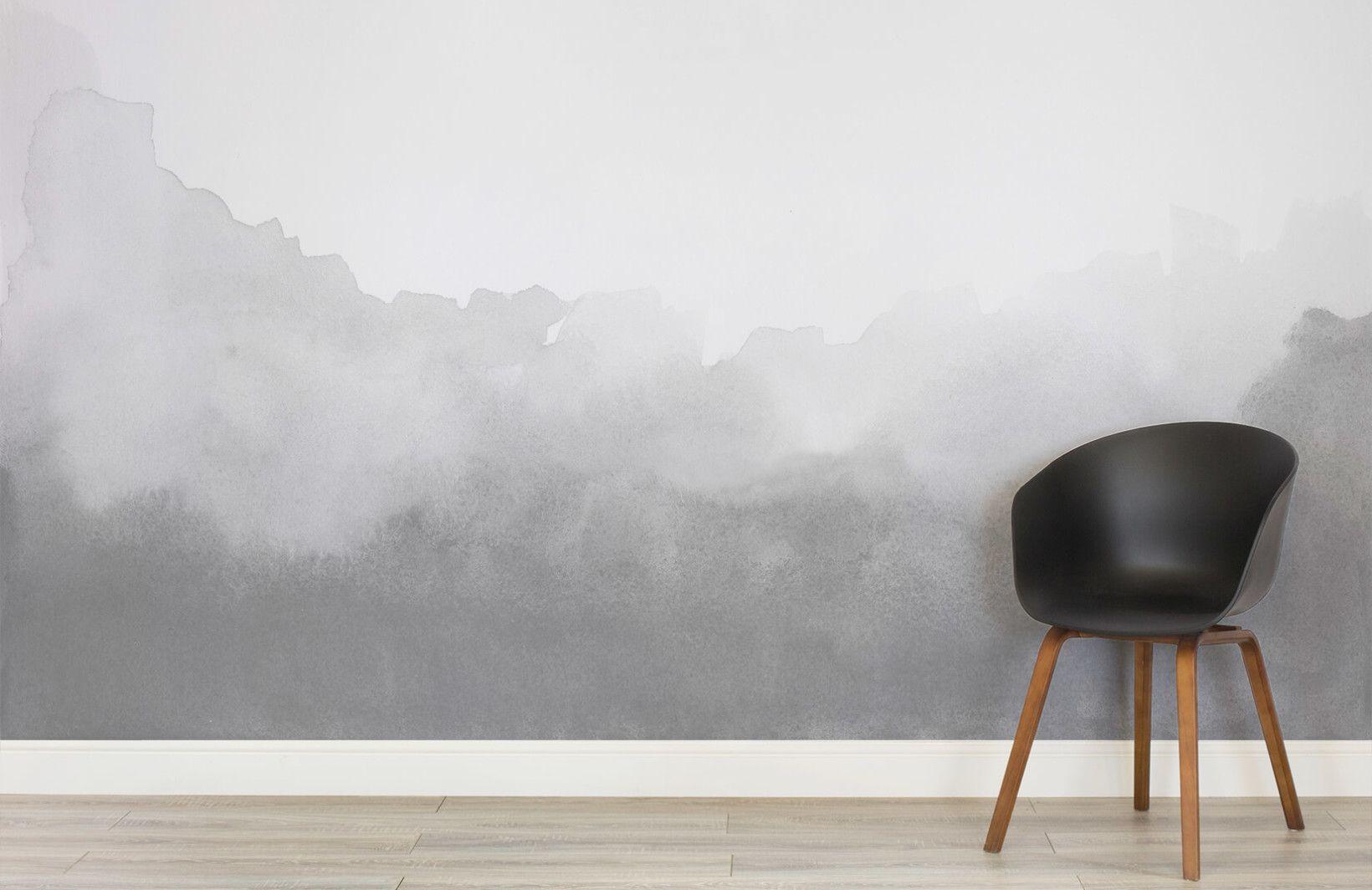 Grey Blend Watercolour Wall Mural Modern Bedroom Decor Grey
