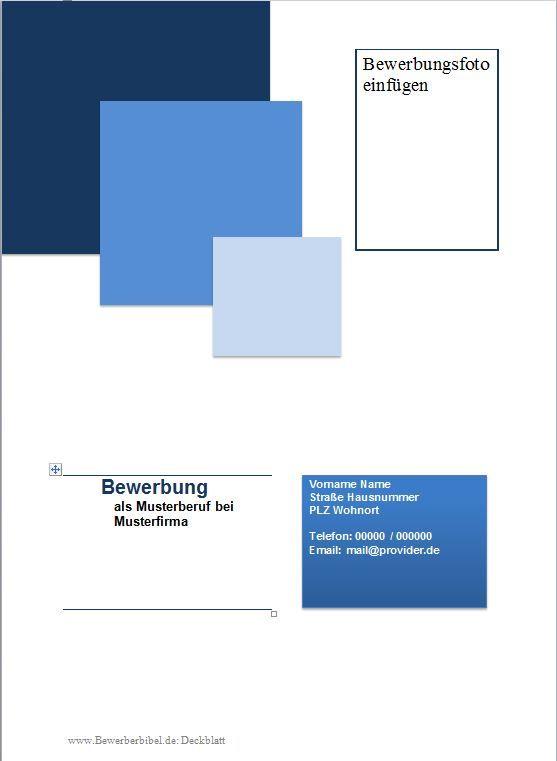 Bewerbung Deckblatt Muster kostenlos, Vorlage, Beispiel gratis ...