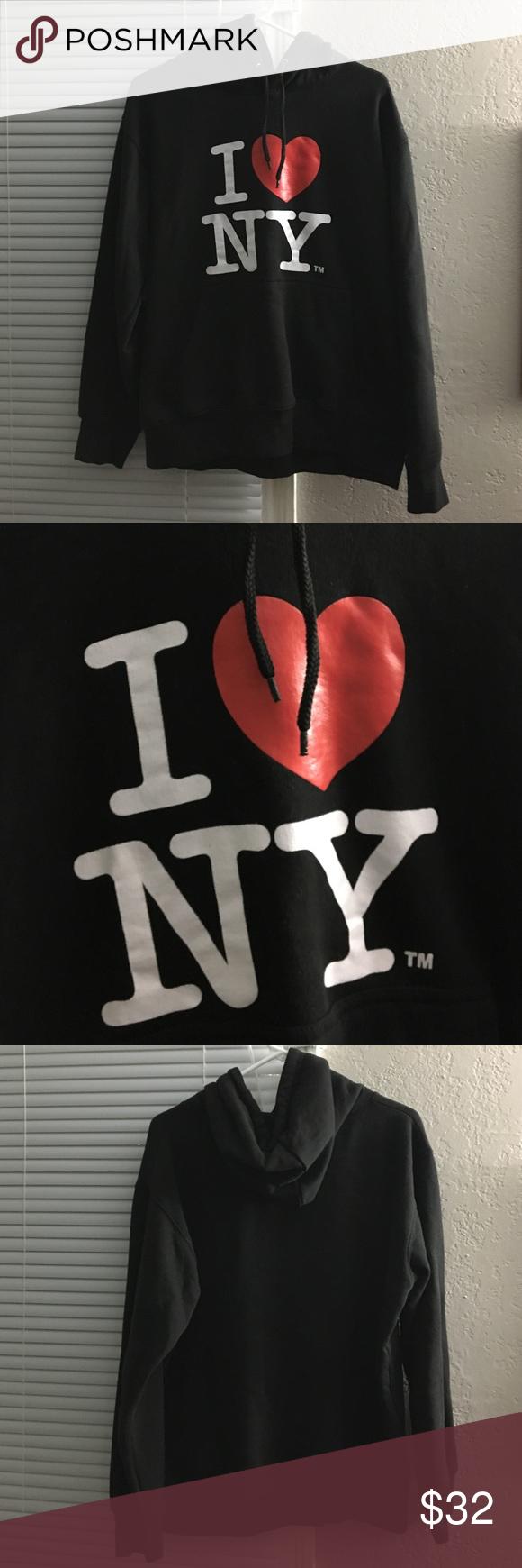 Black I ❤️ NY Hoodie I <3 NY hoodie, black, worn very little, like new. I love NYC. I ❤️ NY Tops Sweatshirts & Hoodies