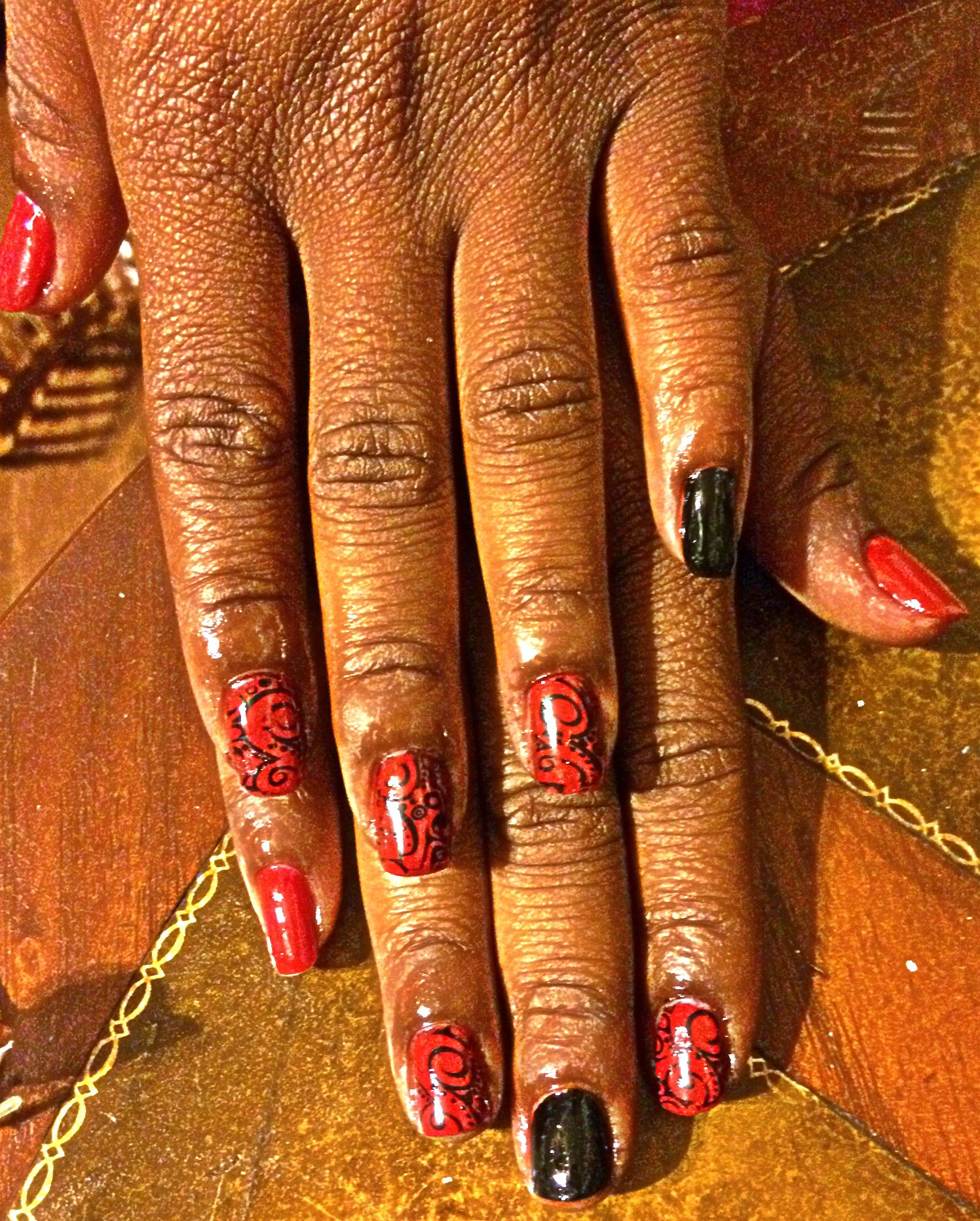 """Mani using soft gels and stamping art on """"Shay"""""""
