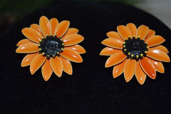 Vintage Sunflower Enamel Clip on Earrings Mid Century