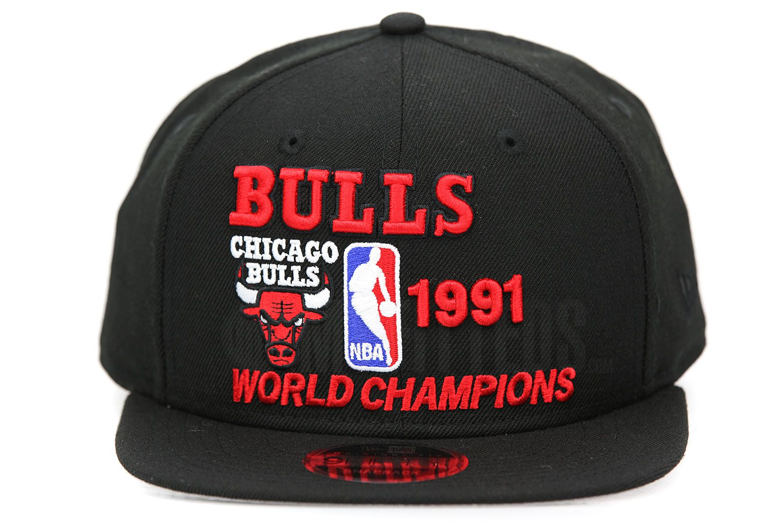 Chicago Bulls 1991 NBA Finals Champions Jet Black Scarlet Original Fit New  Era Snapback 7641354b482
