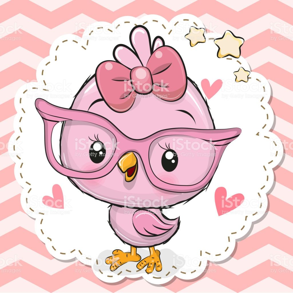 Cute Cartoon Bird In Pink Eyeglasses With A Bow Cartoon Birds Cute Birds Cute Drawings