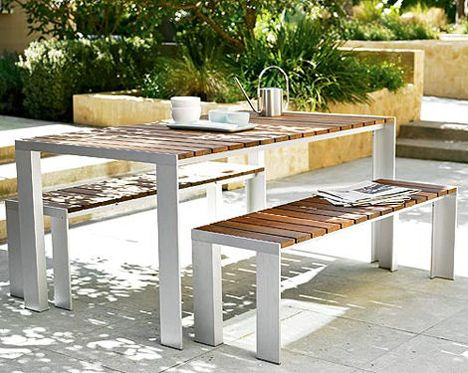 Looking For A Cool, Unique Miami Style Outdoor Table With Bench Seating.  This One Is Teak, (bleaches In The Tropical Sun), But I Like The White Legs!