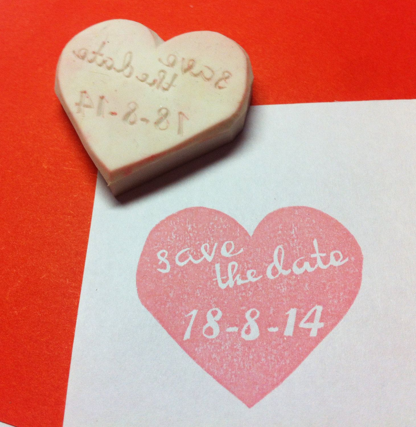 Huge save the date stamp - heart rubber stamp, wedding rubber stamp ...