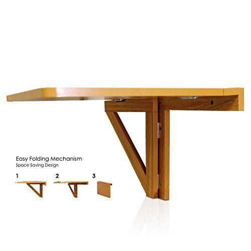 Furinno Fnaj 11019ex Wall Mounted Drop Leaf Folding Table Cherry