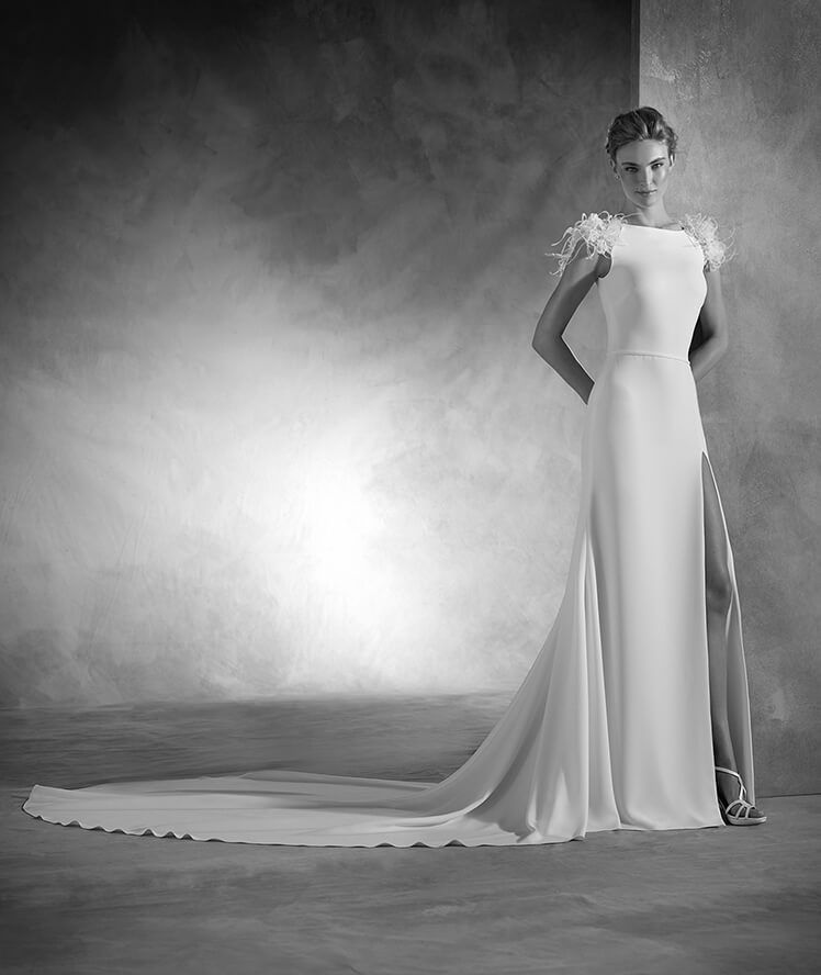 naomi - mermaid wedding dress in crepe and organza with bateau