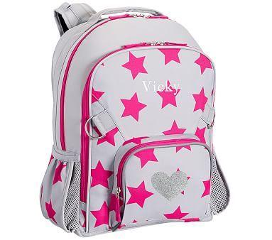 Large Backpack, Fairfax Light Gray Pink Stars Glitter Heart